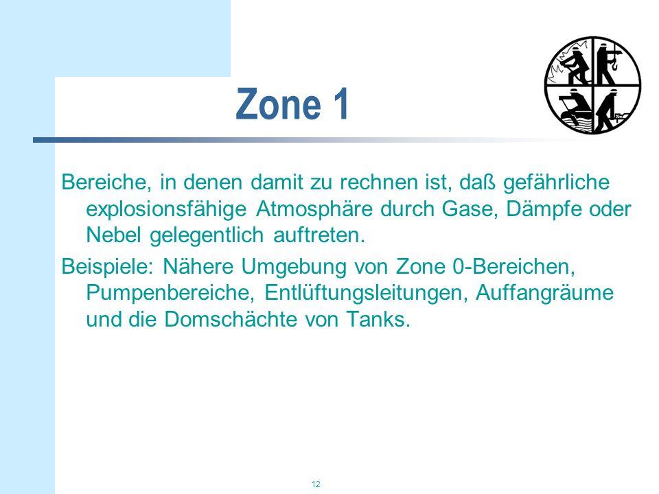 12 Zone 1 Bereiche, in denen damit zu rechnen ist, daß gefährliche explosionsfähige Atmosphäre durch Gase, Dämpfe oder Nebel gelegentlich auftreten. B
