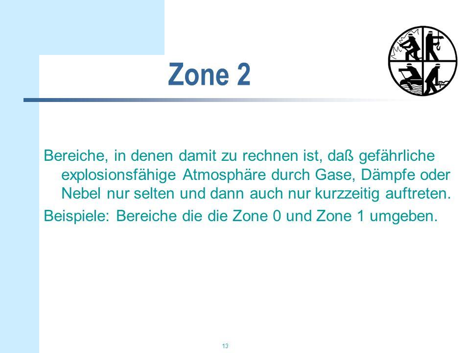 13 Zone 2 Bereiche, in denen damit zu rechnen ist, daß gefährliche explosionsfähige Atmosphäre durch Gase, Dämpfe oder Nebel nur selten und dann auch nur kurzzeitig auftreten.