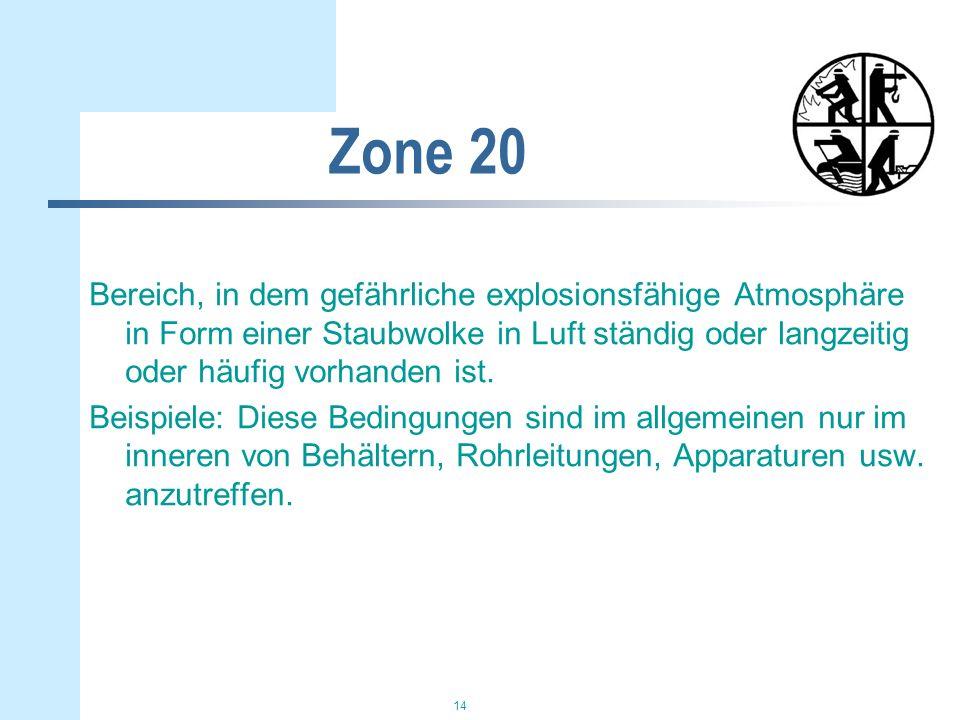 14 Zone 20 Bereich, in dem gefährliche explosionsfähige Atmosphäre in Form einer Staubwolke in Luft ständig oder langzeitig oder häufig vorhanden ist.