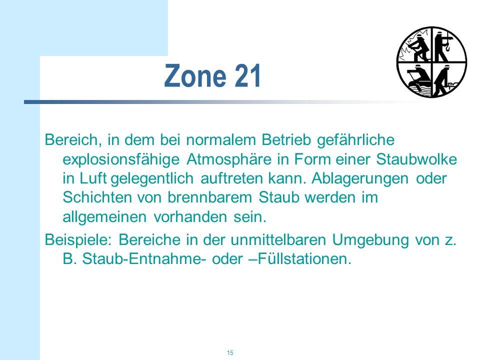 15 Zone 21 Bereich, in dem bei normalem Betrieb gefährliche explosionsfähige Atmosphäre in Form einer Staubwolke in Luft gelegentlich auftreten kann.