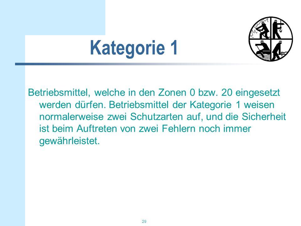 29 Kategorie 1 Betriebsmittel, welche in den Zonen 0 bzw. 20 eingesetzt werden dürfen. Betriebsmittel der Kategorie 1 weisen normalerweise zwei Schutz