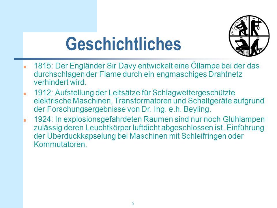 4 Geschichtliches n 1935: erste deutsche Vorschrift zum Schutz von explosionsgefährdeten Anlagen (VDE 0165) n 1943: Inkrafttreten der VDE 0171 Vorschrift für explosionsgeschützte Betriebsmittel.