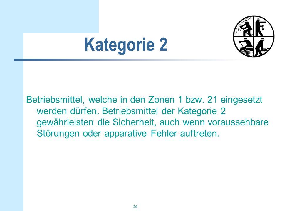 30 Kategorie 2 Betriebsmittel, welche in den Zonen 1 bzw. 21 eingesetzt werden dürfen. Betriebsmittel der Kategorie 2 gewährleisten die Sicherheit, au