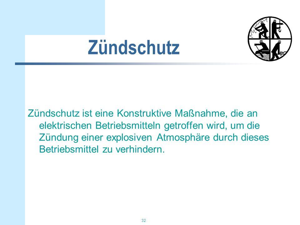 32 Zündschutz Zündschutz ist eine Konstruktive Maßnahme, die an elektrischen Betriebsmitteln getroffen wird, um die Zündung einer explosiven Atmosphär