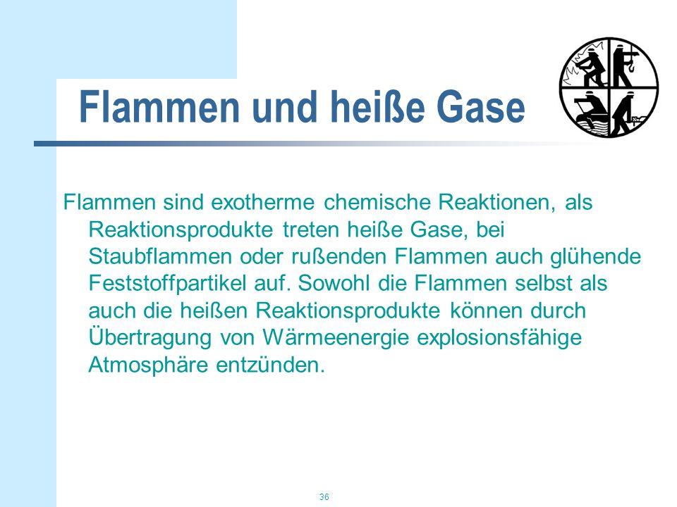 36 Flammen und heiße Gase Flammen sind exotherme chemische Reaktionen, als Reaktionsprodukte treten heiße Gase, bei Staubflammen oder rußenden Flammen auch glühende Feststoffpartikel auf.