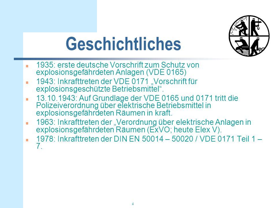 4 Geschichtliches n 1935: erste deutsche Vorschrift zum Schutz von explosionsgefährdeten Anlagen (VDE 0165) n 1943: Inkrafttreten der VDE 0171 Vorschr