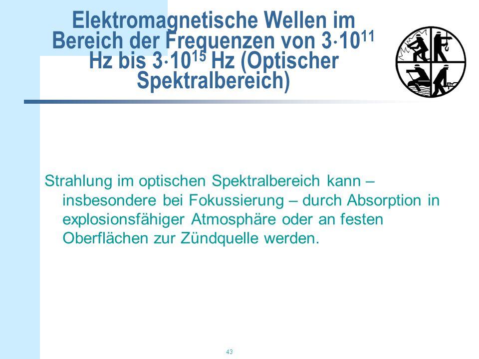 43 Elektromagnetische Wellen im Bereich der Frequenzen von 3 10 11 Hz bis 3 10 15 Hz (Optischer Spektralbereich) Strahlung im optischen Spektralbereich kann – insbesondere bei Fokussierung – durch Absorption in explosionsfähiger Atmosphäre oder an festen Oberflächen zur Zündquelle werden.