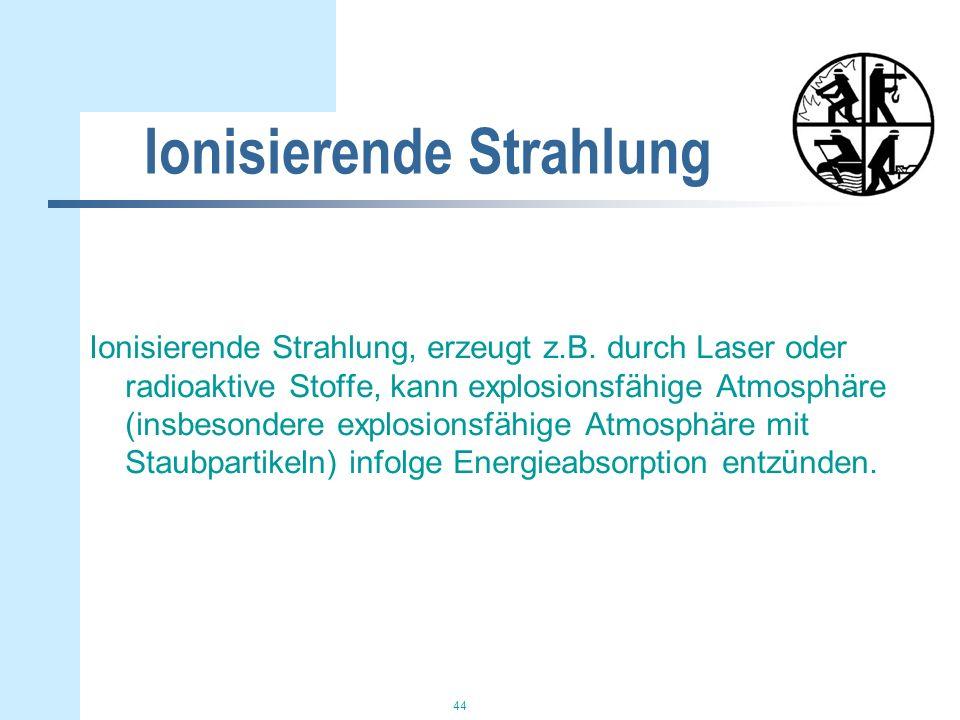 44 Ionisierende Strahlung Ionisierende Strahlung, erzeugt z.B.