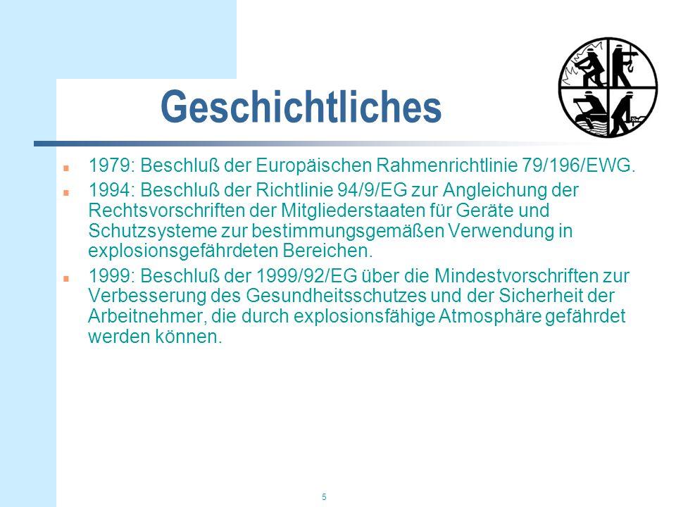5 Geschichtliches n 1979: Beschluß der Europäischen Rahmenrichtlinie 79/196/EWG. n 1994: Beschluß der Richtlinie 94/9/EG zur Angleichung der Rechtsvor