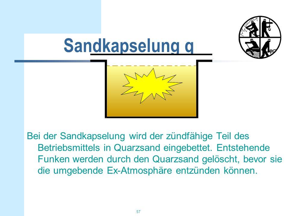 57 Sandkapselung q Bei der Sandkapselung wird der zündfähige Teil des Betriebsmittels in Quarzsand eingebettet. Entstehende Funken werden durch den Qu
