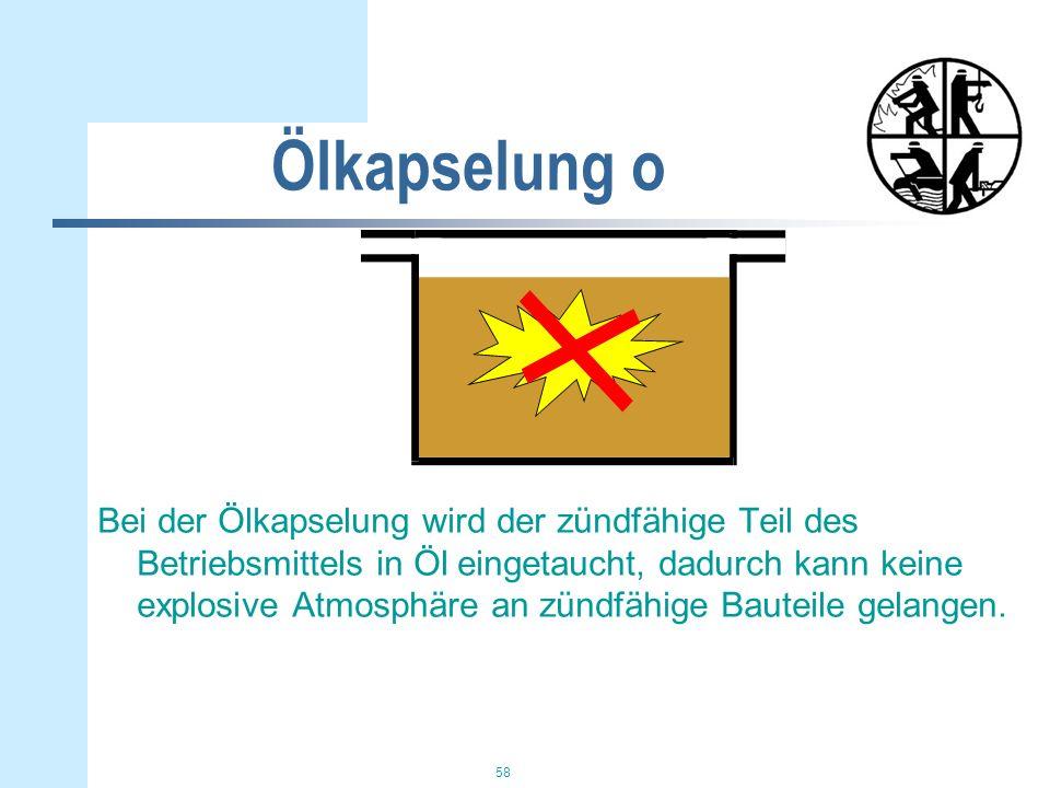 58 Ölkapselung o Bei der Ölkapselung wird der zündfähige Teil des Betriebsmittels in Öl eingetaucht, dadurch kann keine explosive Atmosphäre an zündfähige Bauteile gelangen.