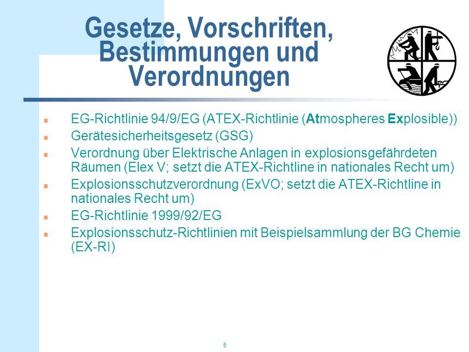 6 Gesetze, Vorschriften, Bestimmungen und Verordnungen n EG-Richtlinie 94/9/EG (ATEX-Richtlinie (Atmospheres Explosible)) n Gerätesicherheitsgesetz (GSG) n Verordnung über Elektrische Anlagen in explosionsgefährdeten Räumen (Elex V; setzt die ATEX-Richtline in nationales Recht um) n Explosionsschutzverordnung (ExVO; setzt die ATEX-Richtline in nationales Recht um) n EG-Richtlinie 1999/92/EG n Explosionsschutz-Richtlinien mit Beispielsammlung der BG Chemie (EX-RI)