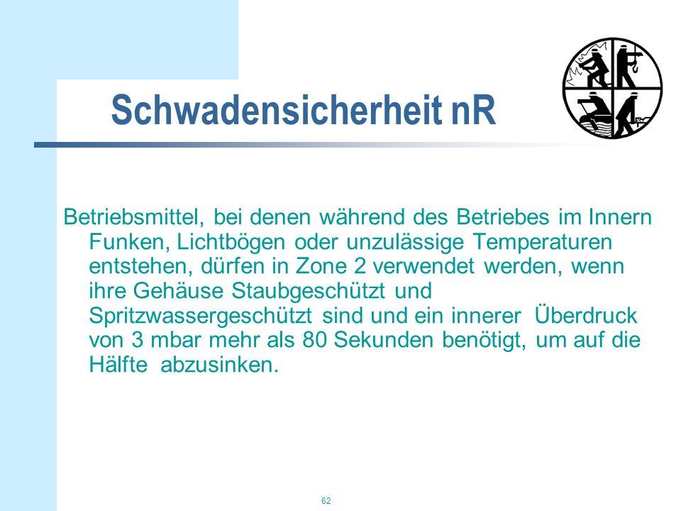 62 Schwadensicherheit nR Betriebsmittel, bei denen während des Betriebes im Innern Funken, Lichtbögen oder unzulässige Temperaturen entstehen, dürfen