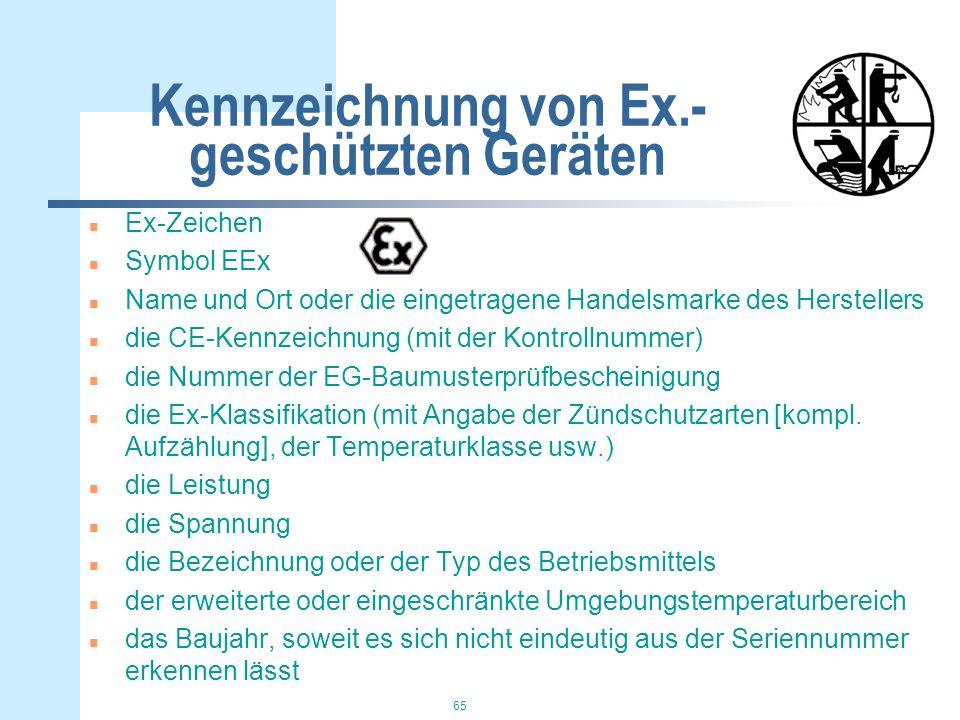 65 Kennzeichnung von Ex.- geschützten Geräten n Ex-Zeichen n Symbol EEx n Name und Ort oder die eingetragene Handelsmarke des Herstellers n die CE-Kennzeichnung (mit der Kontrollnummer) n die Nummer der EG-Baumusterprüfbescheinigung n die Ex-Klassifikation (mit Angabe der Zündschutzarten [kompl.