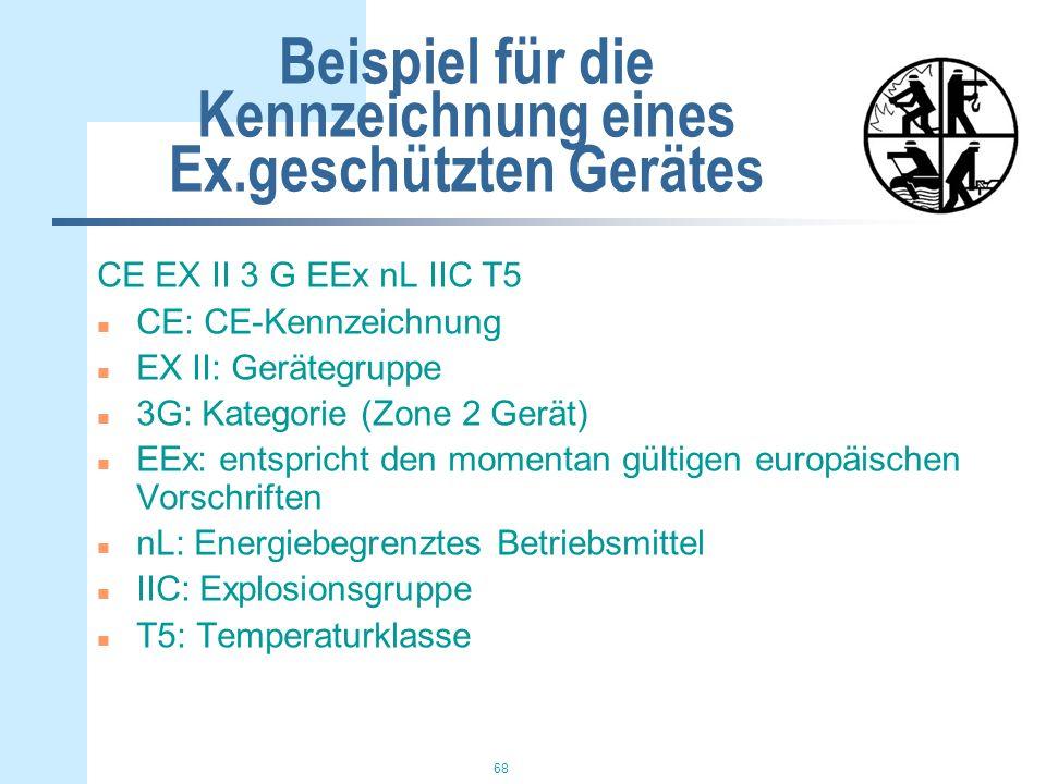 68 Beispiel für die Kennzeichnung eines Ex.geschützten Gerätes CE EX II 3 G EEx nL IIC T5 n CE: CE-Kennzeichnung n EX II: Gerätegruppe n 3G: Kategorie