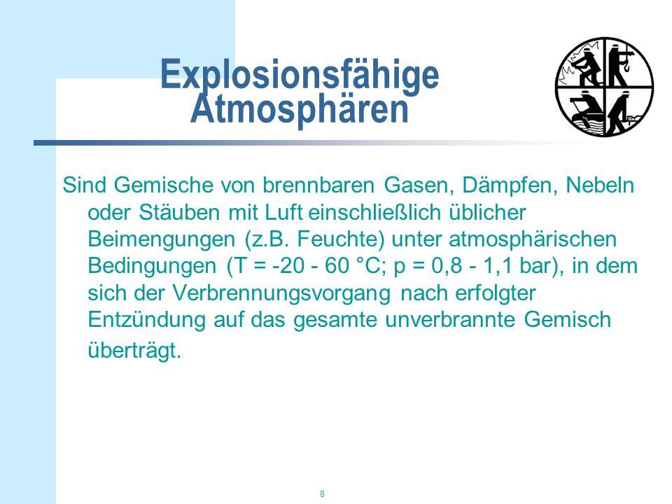8 Explosionsfähige Atmosphären Sind Gemische von brennbaren Gasen, Dämpfen, Nebeln oder Stäuben mit Luft einschließlich üblicher Beimengungen (z.B.