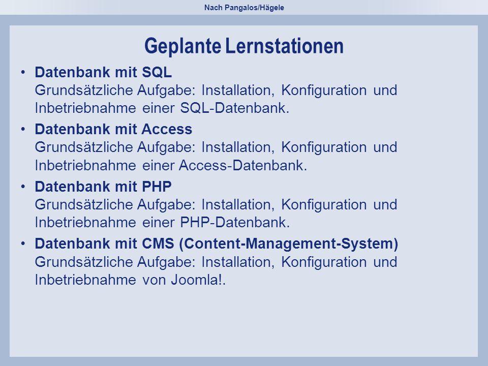 Nach Pangalos/Hägele Geplante Lernstationen Datenbank mit SQL Grundsätzliche Aufgabe: Installation, Konfiguration und Inbetriebnahme einer SQL-Datenbank.Datenbank mit SQL Grundsätzliche Aufgabe: Installation, Konfiguration und Inbetriebnahme einer SQL-Datenbank.