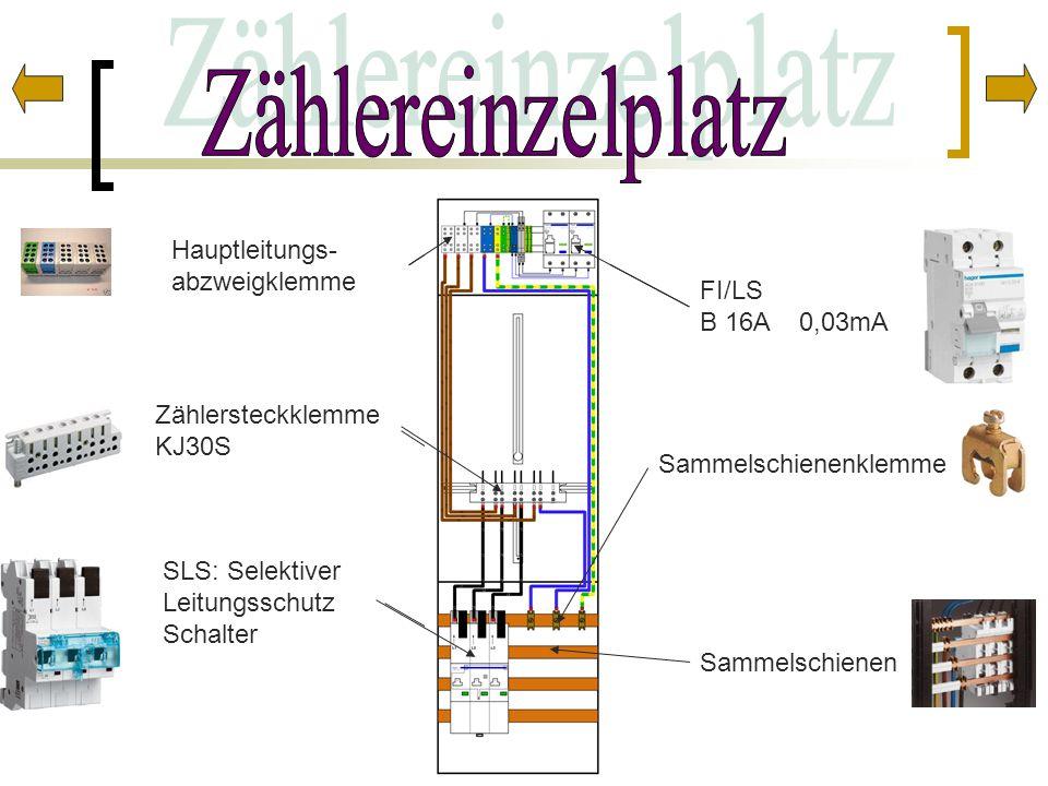 Hauptleitungs- abzweigklemme Zählersteckklemme KJ30S Sammelschienenklemme FI/LS B 16A 0,03mA SLS: Selektiver Leitungsschutz Schalter Sammelschienen