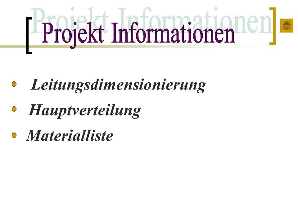 Leitungsdimensionierung Hauptverteilung Materialliste