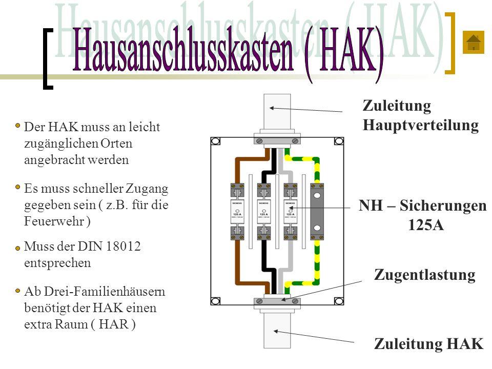 Zuleitung HAK Zugentlastung Zuleitung Hauptverteilung NH – Sicherungen 125A Der HAK muss an leicht zugänglichen Orten angebracht werden Muss der DIN 1
