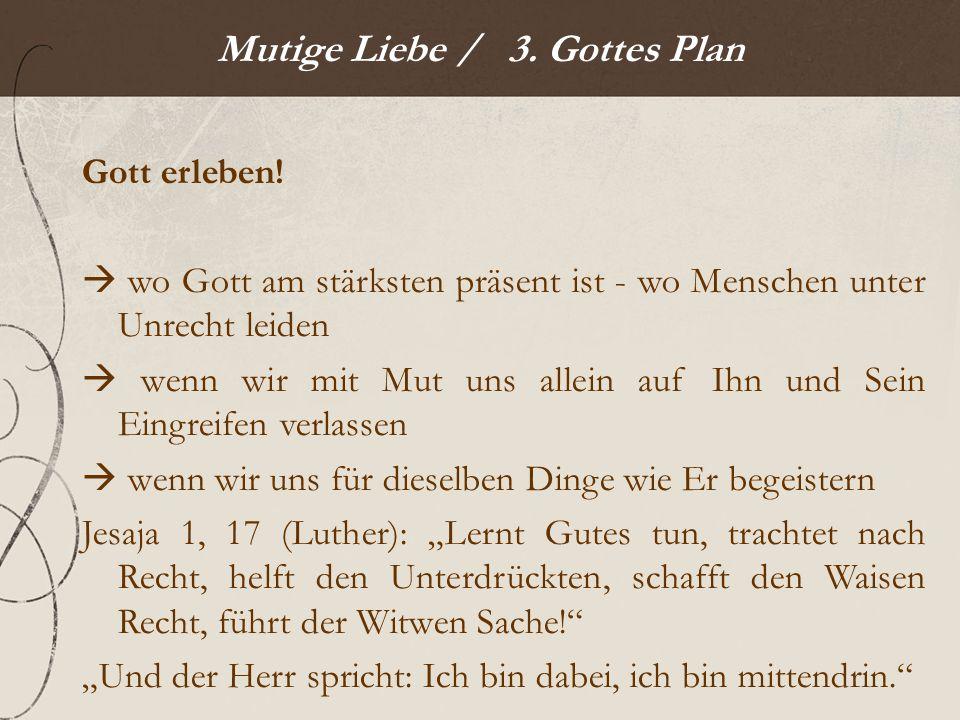 Mutige Liebe / 3. Gottes Plan Gott erleben.