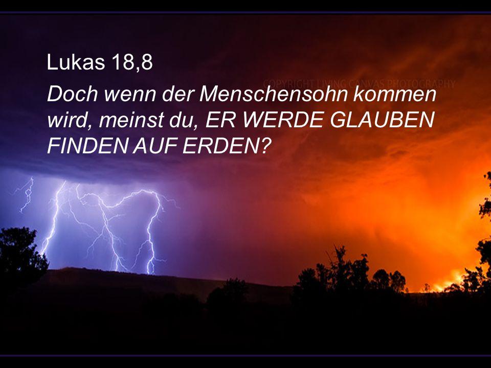 Lukas 18,8 Doch wenn der Menschensohn kommen wird, meinst du, ER WERDE GLAUBEN FINDEN AUF ERDEN?