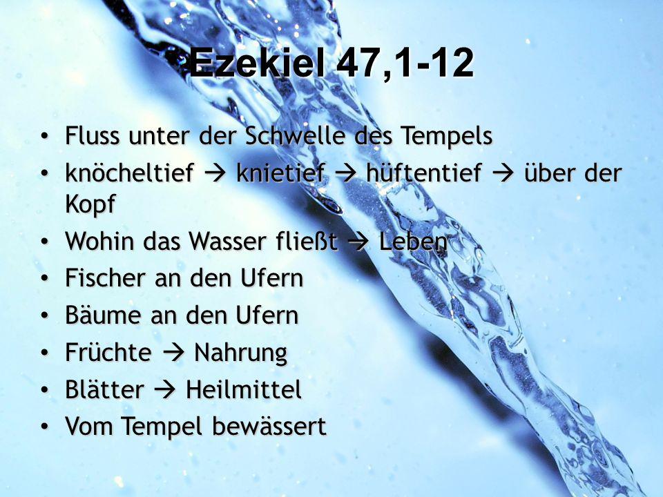 Ezekiel 47,1-12 Fluss unter der Schwelle des Tempels Fluss unter der Schwelle des Tempels knöcheltief knietief hüftentief über der Kopf knöcheltief kn