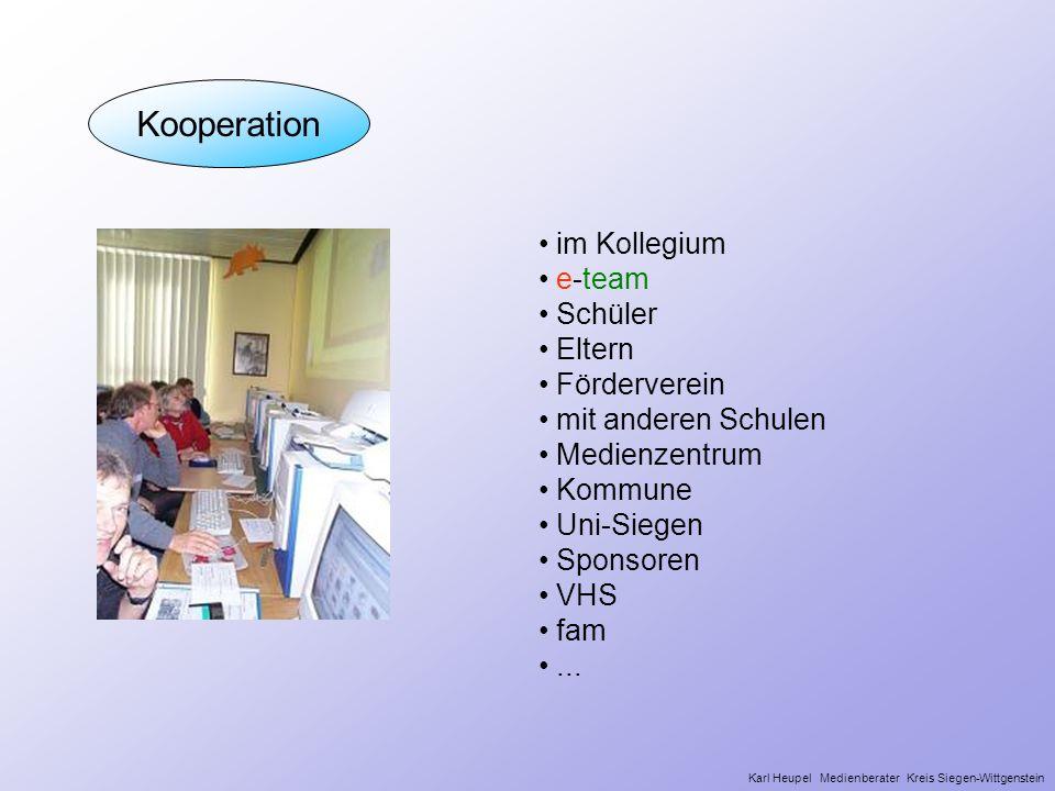 Kooperation im Kollegium e-team Schüler Eltern Förderverein mit anderen Schulen Medienzentrum Kommune Uni-Siegen Sponsoren VHS fam... Karl Heupel Medi