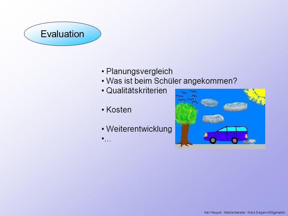 Evaluation Planungsvergleich Was ist beim Schüler angekommen? Qualitätskriterien Kosten Weiterentwicklung... Karl Heupel Medienberater Kreis Siegen-Wi