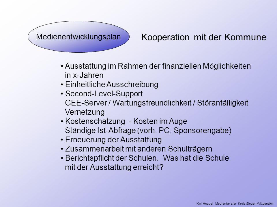 Medienentwicklungsplan Kooperation mit der Kommune Ausstattung im Rahmen der finanziellen Möglichkeiten in x-Jahren Einheitliche Ausschreibung Second-