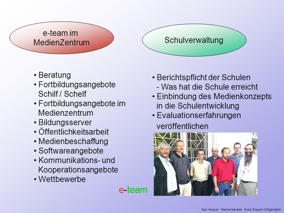 Schulverwaltung Beratung Fortbildungsangebote Schilf / Schelf Fortbildungsangebote im Medienzentrum Bildungsserver Öffentlichkeitsarbeit Medienbeschaf