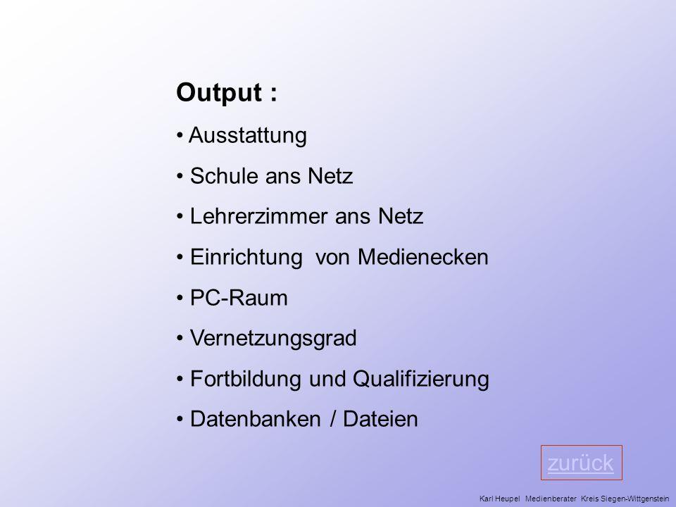 Output : Ausstattung Schule ans Netz Lehrerzimmer ans Netz Einrichtung von Medienecken PC-Raum Vernetzungsgrad Fortbildung und Qualifizierung Datenban