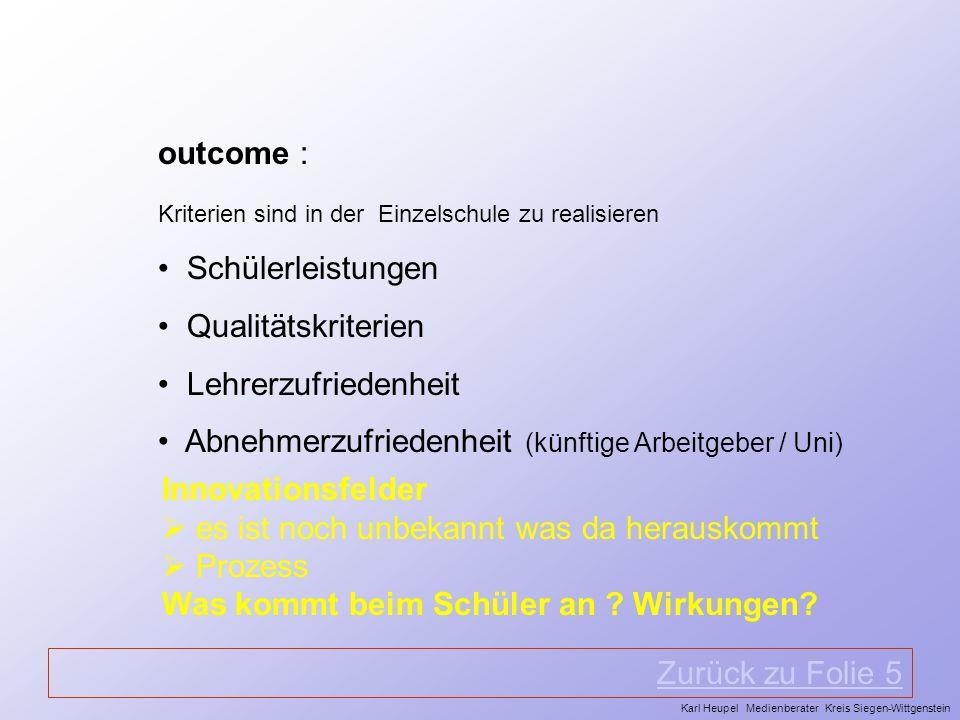 outcome : Kriterien sind in der Einzelschule zu realisieren Schülerleistungen Qualitätskriterien Lehrerzufriedenheit Abnehmerzufriedenheit (künftige A