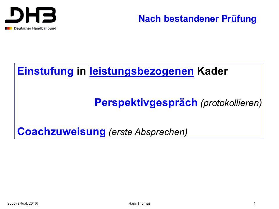 2006 (aktual. 2010)Hans Thomas4 Nach bestandener Prüfung Einstufung in leistungsbezogenen Kader Perspektivgespräch (protokollieren) Coachzuweisung (er