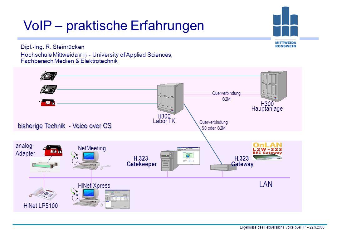 DI R.Steinrücken Hochschule Mittweida Ergebnisse des Feldversuchs Voice over IP – 22.9.2000 12 Sprachqualität u Die Sprachkodierung nach G.711 (64 Kbit/s) liefert eine gute Sprachqualität.