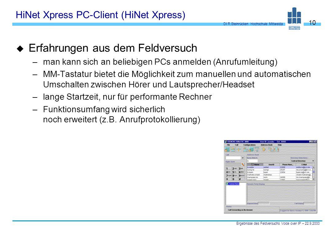 DI R.Steinrücken Hochschule Mittweida Ergebnisse des Feldversuchs Voice over IP – 22.9.2000 10 HiNet Xpress PC-Client (HiNet Xpress) u Erfahrungen aus