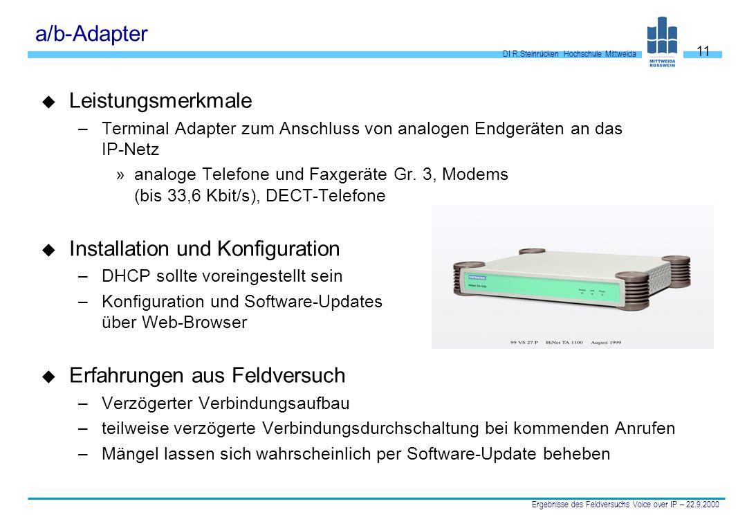 DI R.Steinrücken Hochschule Mittweida Ergebnisse des Feldversuchs Voice over IP – 22.9.2000 11 a/b-Adapter u Leistungsmerkmale –Terminal Adapter zum A