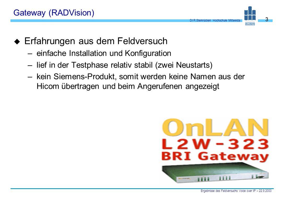 DI R.Steinrücken Hochschule Mittweida Ergebnisse des Feldversuchs Voice over IP – 22.9.2000 3 Gateway (RADVision) u Erfahrungen aus dem Feldversuch –e