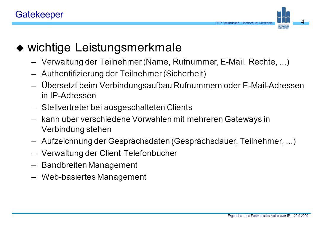 DI R.Steinrücken Hochschule Mittweida Ergebnisse des Feldversuchs Voice over IP – 22.9.2000 5 Gatekeeper u Rechnerkonfiguration: –300 MHz Pentium, min.