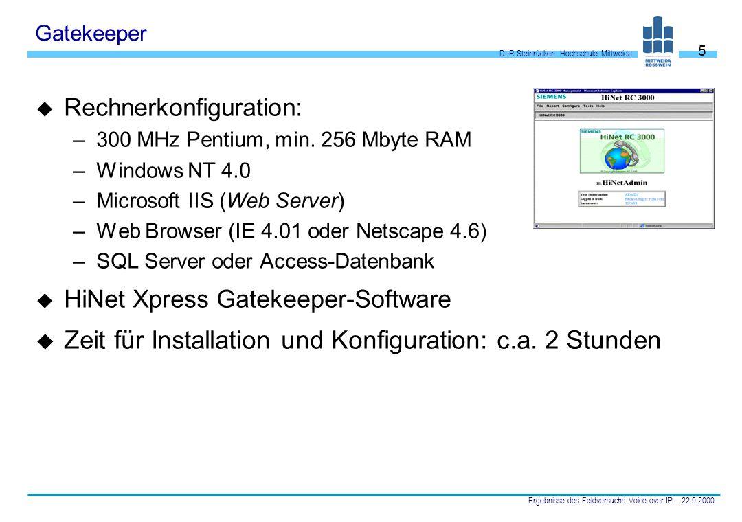 DI R.Steinrücken Hochschule Mittweida Ergebnisse des Feldversuchs Voice over IP – 22.9.2000 5 Gatekeeper u Rechnerkonfiguration: –300 MHz Pentium, min
