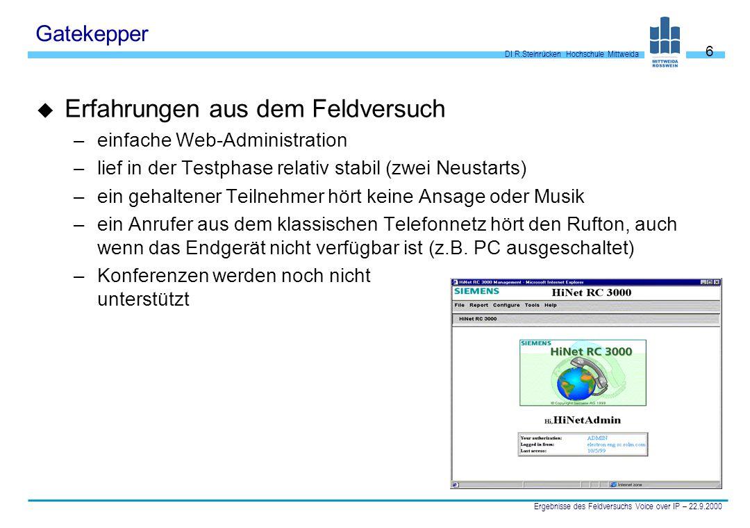 DI R.Steinrücken Hochschule Mittweida Ergebnisse des Feldversuchs Voice over IP – 22.9.2000 6 Gatekepper u Erfahrungen aus dem Feldversuch –einfache W