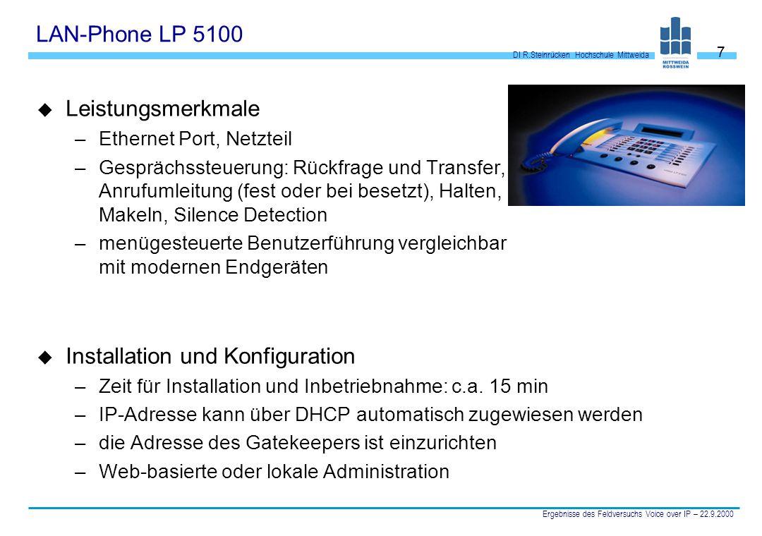 DI R.Steinrücken Hochschule Mittweida Ergebnisse des Feldversuchs Voice over IP – 22.9.2000 7 LAN-Phone LP 5100 u Leistungsmerkmale –Ethernet Port, Ne