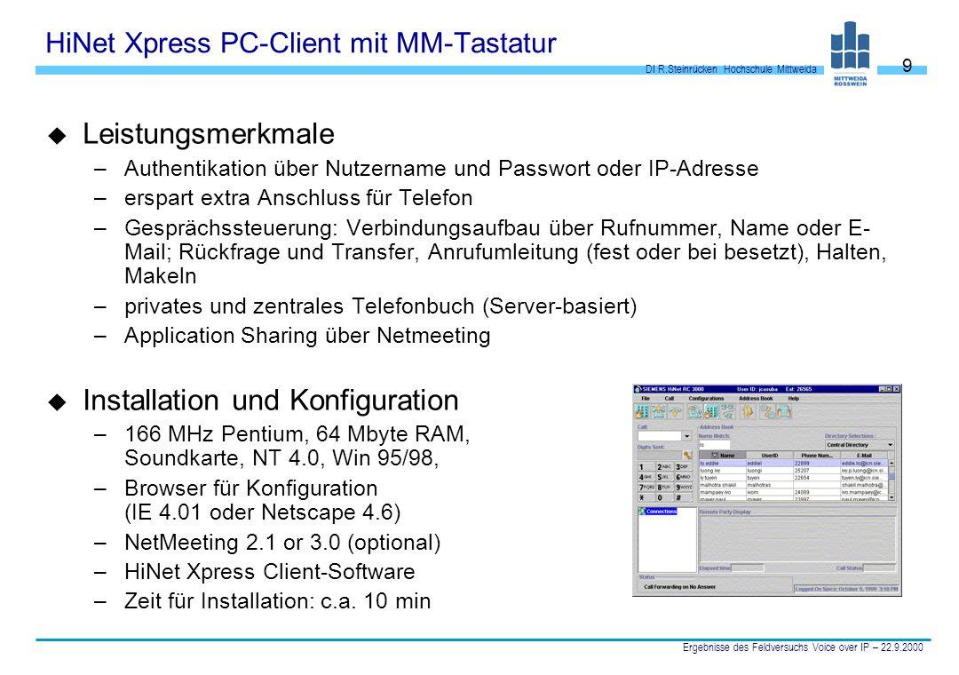 DI R.Steinrücken Hochschule Mittweida Ergebnisse des Feldversuchs Voice over IP – 22.9.2000 9 HiNet Xpress PC-Client mit MM-Tastatur u Leistungsmerkma