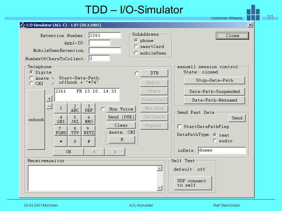 Hochschule Mittweida 11 Ralf Steinrücken20.04.2001 MünchenACL-Konverter TDD – I/O-Simulator