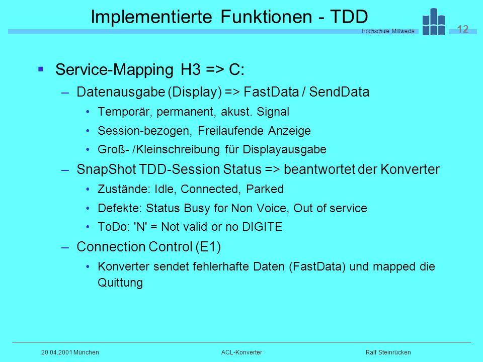 Hochschule Mittweida 12 Ralf Steinrücken20.04.2001 MünchenACL-Konverter Implementierte Funktionen - TDD Service-Mapping H3 => C: –Datenausgabe (Display) => FastData / SendData Temporär, permanent, akust.