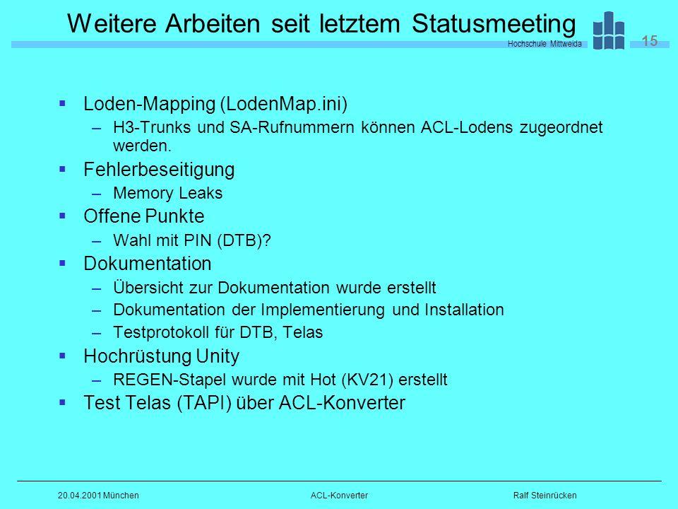 Hochschule Mittweida 15 Ralf Steinrücken20.04.2001 MünchenACL-Konverter Weitere Arbeiten seit letztem Statusmeeting Loden-Mapping (LodenMap.ini) –H3-Trunks und SA-Rufnummern können ACL-Lodens zugeordnet werden.