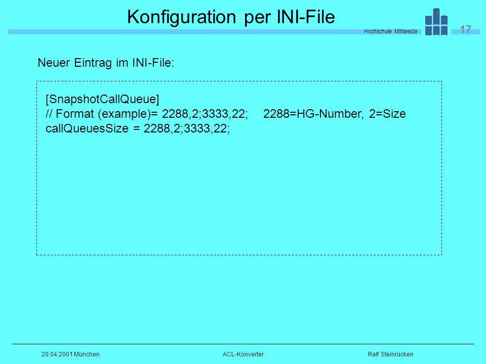 Hochschule Mittweida 17 Ralf Steinrücken20.04.2001 MünchenACL-Konverter Konfiguration per INI-File [SnapshotCallQueue] // Format (example)= 2288,2;3333,22; 2288=HG-Number, 2=Size callQueuesSize = 2288,2;3333,22; Neuer Eintrag im INI-File: