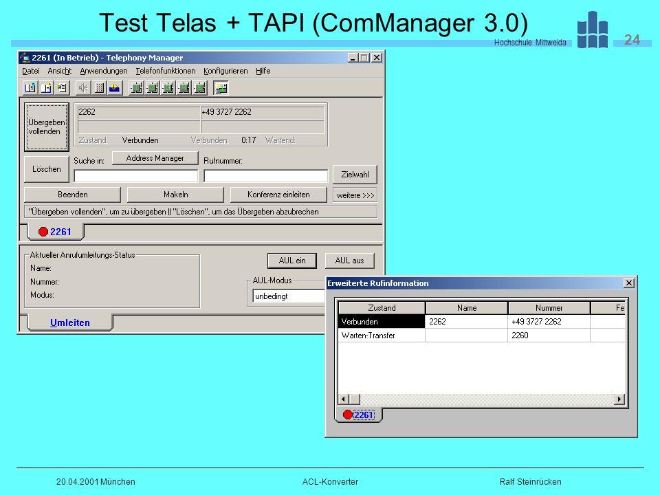 Hochschule Mittweida 24 Ralf Steinrücken20.04.2001 MünchenACL-Konverter Test Telas + TAPI (ComManager 3.0)