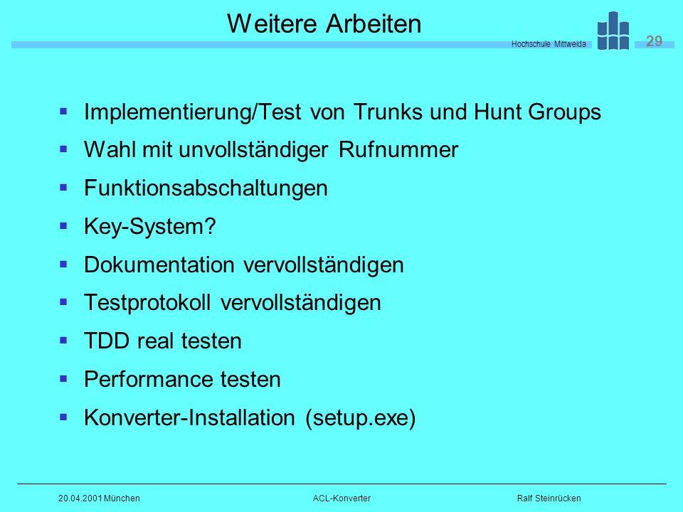 Hochschule Mittweida 29 Ralf Steinrücken20.04.2001 MünchenACL-Konverter Weitere Arbeiten Implementierung/Test von Trunks und Hunt Groups Wahl mit unvollständiger Rufnummer Funktionsabschaltungen Key-System.