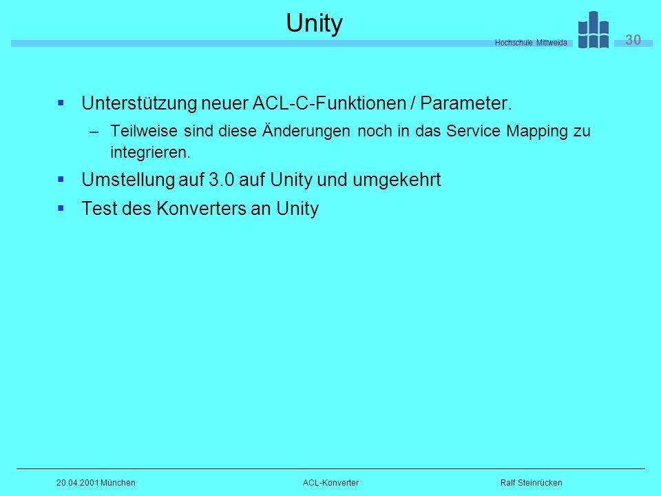 Hochschule Mittweida 30 Ralf Steinrücken20.04.2001 MünchenACL-Konverter Unity Unterstützung neuer ACL-C-Funktionen / Parameter.